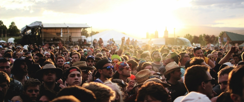 crowd at sunset